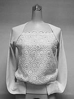 Джемпер женский нарядный с кружевом белый
