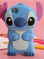 Силиконовый голубой чехол Ститч для Iphone 4/4s