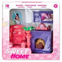 Кукольная гостиная Современный дом, розовая, QunFengToys
