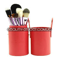 Набор кистей для макияжа МАС 12 штук в тубусе коралловые