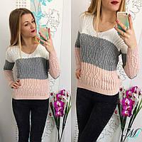 Шерстяной свитер в полоску Турция Цвета 3139 МС