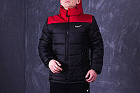 Куртка демисезонная, мужская, весенняя, осенняя Nike, до - 2 градусов черный+ красный