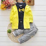 Детский комплект рубашка с бабочкой и штаны для мальчика