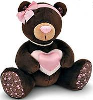 Медведица, сидящая с сердечком, 25 см, Choco & Milk, Orange