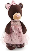 Медведица, стоящая в платье с блёстками, 30 см, Choco & Milk, Orange