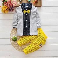 Детский нарядный костюм штаны и рубашка с бабочкой для мальчика