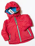 Детская зимняя теплая куртка для девочки розовая р.74/80