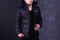 Куртка демисезонная, мужская, весенняя, осенняя Nike, до - 2 градусов черный+синий