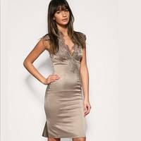 209ce815a02 Платье Karen Millen с гипюровыми вставками палевого цвета KM70052