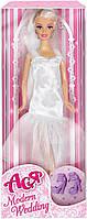 Модная свадьба, набор с куклой 28 см, блондинка в платье ниже колен, Ася