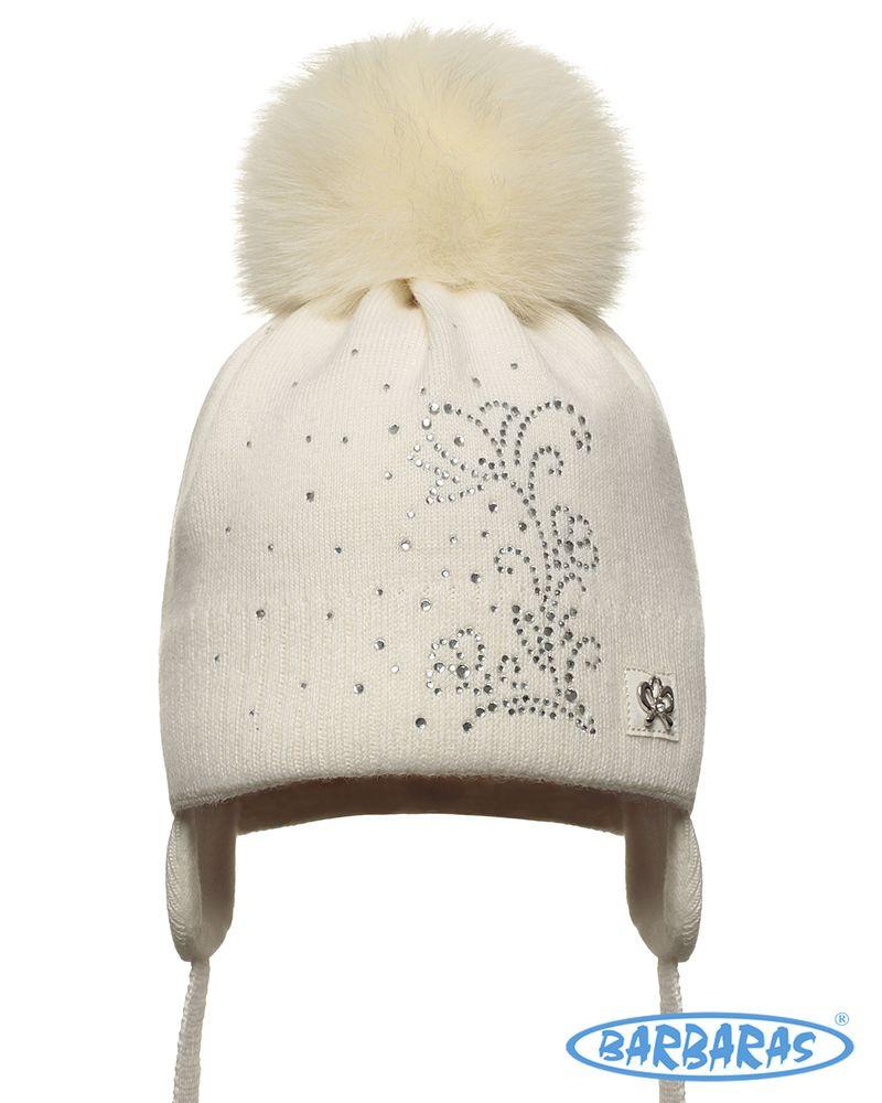 Теплая вязанная шапочка для девочки лапули от BARBARAS Польша