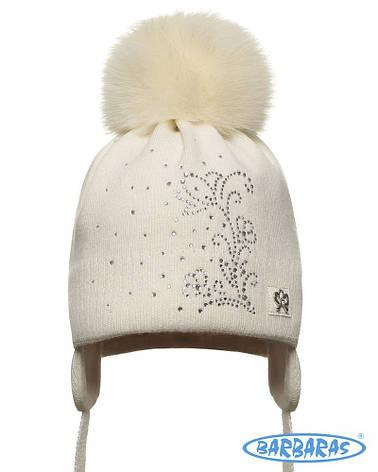 Теплая вязанная шапочка для девочки лапули от BARBARAS Польша, фото 2