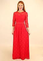 Красное гипюровое платье 44-50 р