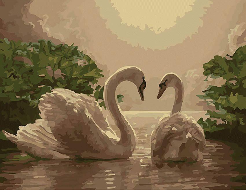 Картины по номерам 40 × 50 см. Лебеди.