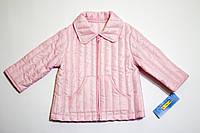 Детская демисезонная легкая стеганая куртка для девочки розовая р.74/80