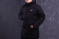 Парка демисезонная, куртка мужская, весенняя, осенняя Nike, до - 5 градусов черный