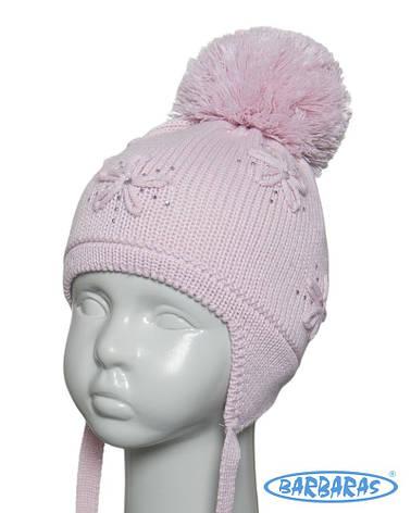 Теплая вязанная шапочка для девочки от BARBARAS Польша, фото 2