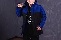 Парка демисезонная, куртка мужская, весенняя, осенняя , до - 5 градусов черный+синий