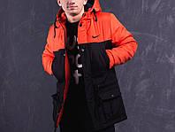 Парка демисезонная, куртка мужская, весенняя, осенняя Nike, до - 5 градусов черный+оранжевый
