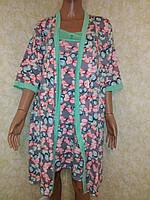 Комплект: ночнушка + халат, бамбук, Турция, размер L (46-48)