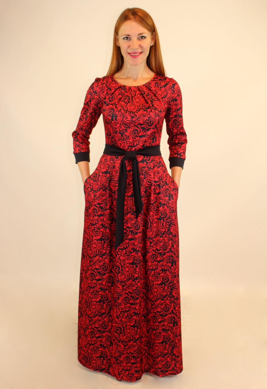 Трикотажное длинное платье 44-46-48 р