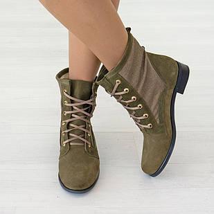 Ботинки женские 40 размер цвета хаки из натуральной замши Woman's heel на низком ходу
