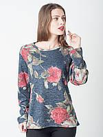 Женская кофточка из ангоры с цветочным принтом Роза