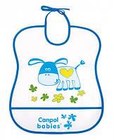 Мягкий пластиковый слюнявчик, бело-синий с осликом, Canpol babies