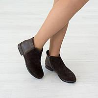 Ботинки из натуральной замши коричневый