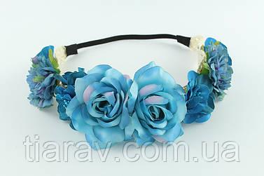 Венок на голову Веночек Ассоль синий голубой ТИАРА украшения для волос аксессуары
