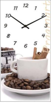 """Кухонные настенные часы """"Кофе"""" (250х500мм) [Стекло, Открытые]"""