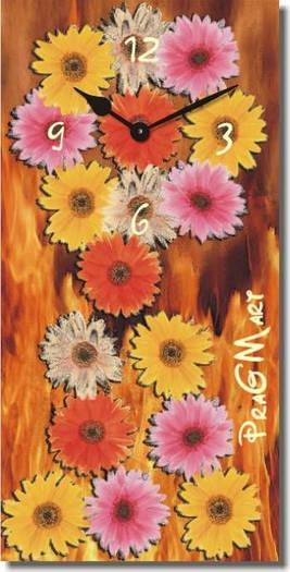 """Большие настенные часы """"Цветы"""" (250х500мм) [Стекло, Открытые]"""
