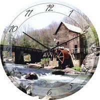 """Часы настенные """"Мельница на горной речке"""" (500мм) [Стекло, Открытые]"""