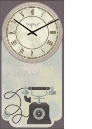 """Часы настенные большие """"Прованс - Телефон"""" (250х500мм) [Стекло, Открытые]"""