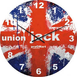 """Часы настенные большие """"Флаг Англии"""" (500мм) [Стекло, Открытые]"""