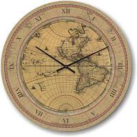 """Часы настенные большого размера """"Старая карта мира"""" (500мм) [Стекло]"""