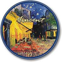 """Часы настенные большого размера """"Терраса ночного кафе - Винсент Ван Гог"""" (500мм) [Стекло, Открытые]"""