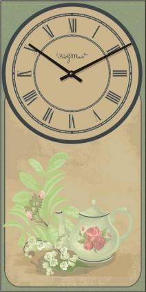 """Часы настенные большие """"Прованс - Заварник"""" (250х500мм) [Стекло, Открытые]"""