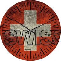 """Часы настенные большие """"Флаг Швейцарии"""" (500мм) [Стекло, Открытые]"""