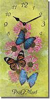"""Большие настенные часы """"Бабочки на цветах"""" (250х500мм) [Стекло, Открытые]"""