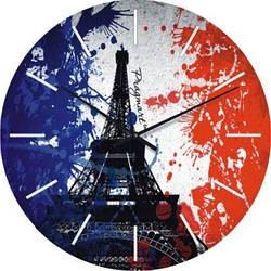 """Часы настенные большие """"Флаг Франции"""" (500мм) [Стекло, Открытые]"""