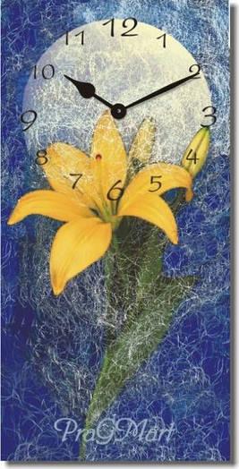 """Большие настенные часы """"Цветок лилии"""" (250х500мм) [Стекло, Открытые]"""