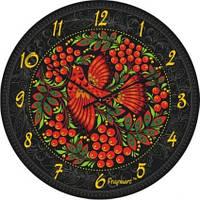 """Часы настенные большие """"Хохлома с птицей"""" (500мм) [Стекло, Открытые]"""