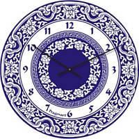 """Часы настенные большие """"Синяя роспись"""" (300мм) [Стекло] [Стекло]"""