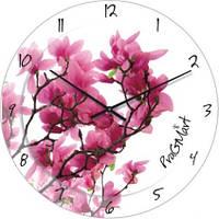"""Большие настенные часы """"Розовая сакура"""" (500мм) [Стекло]"""