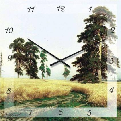 """Часы настенные """"Дорога в поле"""" (500мм) [Стекло, Открытые]"""