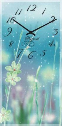 """Большие настенные часы """"Белый цветок"""" (250х500мм) [Стекло, Открытые]"""