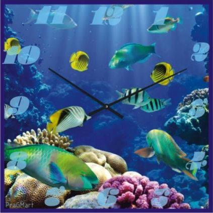 """Часы настенные """"Под водой"""" (500мм) [Стекло, Открытые]"""