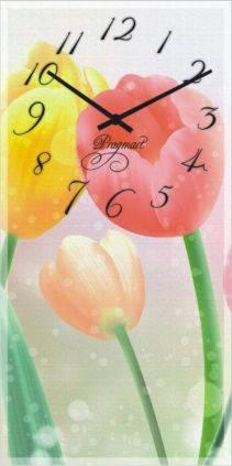 """Большие настенные часы """"Тюльпаны"""" (250х500мм) [Стекло, Открытые]"""