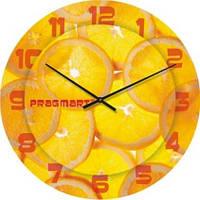 """Кухонные настенные часы """"Сочный апельсин"""" (500мм) [Стекло]"""